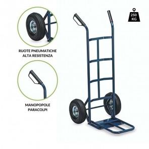 Carrello portapacchi L250 ruote pneumatiche 250 kg acciaio