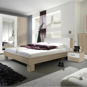 Letto oversize 180/200 + comodini Lisa Gihome ® rovere e bianco