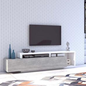 Porta tv Megan bianco cemento