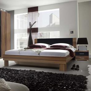 Letto oversize 180/200 + comodini Lisa Gihome ® noce e nero