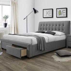 Letto Anita Gihome ® 160 tessuto grigio moderno con cassettoni