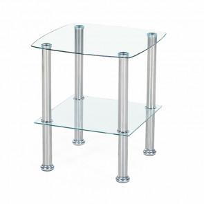 Tavolino Dotak quadrato salotto in vetro trasparente acciaio