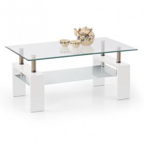 Tavolino salotto Castor bianco vetro acciaio con ripiano