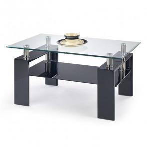 Tavolino salotto Nigel nero vetro acciaio con ripiano nero