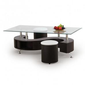 Tavolino Nicolas wengè acciaio vetro trasparente con 2 pouf moderno design