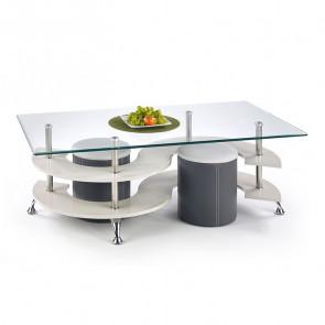 Tavolino Nicolas grigio acciaio vetro trasparente con 2 pouf grigi moderno design