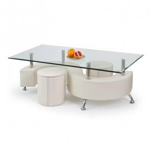Tavolino Nicolas ecopelle bianco acciaio vetro trasparente con 2 pouf moderno design