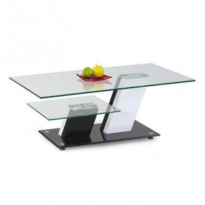 Tavolino Liegi salotto bianco nero vetro con ripiano moderno design