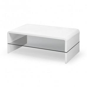 Tavolino Jaipur salotto bianco con ripiano in vetro moderno
