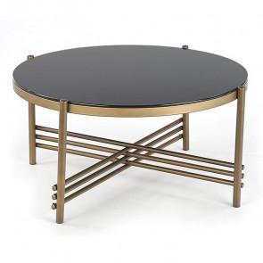 Tavolino Flam rotondo vetro nero acciaio oro salotto design moderno