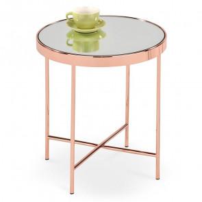 Tavolino Roros rotondo specchio acciaio rame moderno salotto