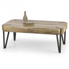 Tavolino Laval rovere scuro acciaio nero moderno salotto industrial