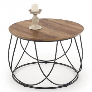 Tavolino rotondo Silves 60 noce acciaio nero salotto moderno design