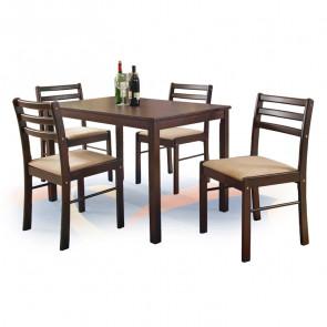 Set tavolo e 4 sedie Lugano noce scuro classico