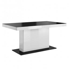 Tavolo allungabile Gordon/Maiorca quarzo bianco e nero lucido