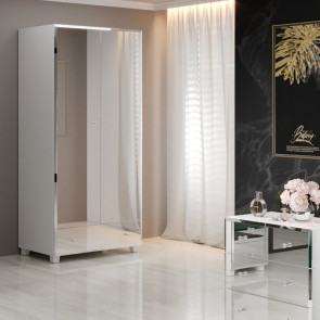 Armadio Selva 2 ante 1 cassetto bianco specchio