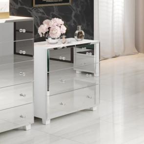 Cassettiera Selva 4 cassetti bianco specchio