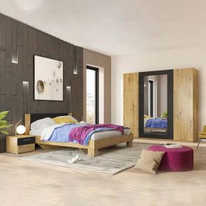 Camera completa Lisa Gihome ® quercia e nero con letto standard