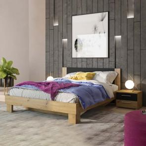 Letto standard 160/200 + comodini Lisa Gihome ® quercia e nero