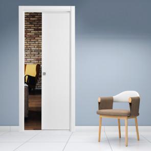 Porta interna Luisa scorrevole a scomparsa 80 x 210 bianco laccato