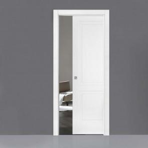 Porta interna Victoria scorrevole scomparsa 80 x 210 bianco laccato