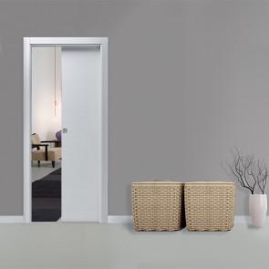 Porta interna Lara scorrevole scomparsa 80 x 210 bianco matrix