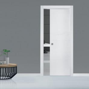 Porta interna Fabrizia scorrevole scomparsa 80 x 210 bianco struttura