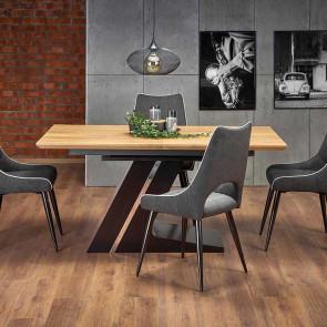 Tavolo allungabile Guelp 160-220 rovere naturale acciaio nero moderno industrial
