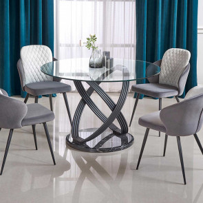 Tavolo rotondo Babol 122 vetro trasparente acciaio nero marmo moderno