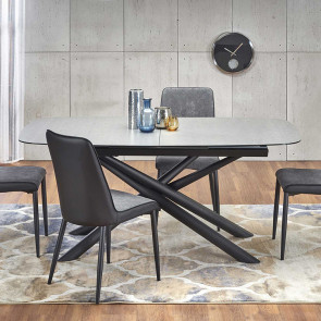 Tavolo allungabile Uruk 180-240 grigio scuro acciaio nero moderno design