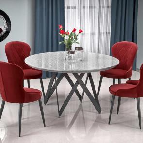 Tavolo rotondo Arbil 140 marmo grigio acciaio nero moderno
