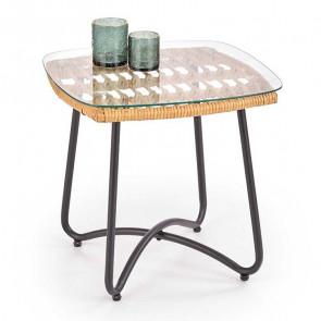 Tavolino Breda vetro trasparente rattan acciaio nero design moderno