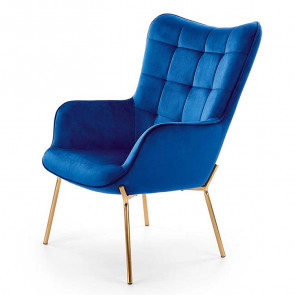 Poltrona imbottita Futura blu in velluto gambe oro