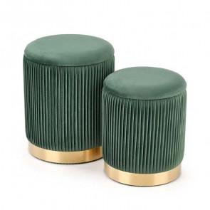 Set 2 pouf Cubal verde in velluto funzione contenitore