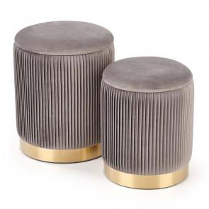 Set 2 pouf Cubal grigio in velluto funzione contenitore