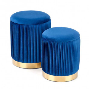Set 2 pouf Cubal blu in velluto funzione contenitore