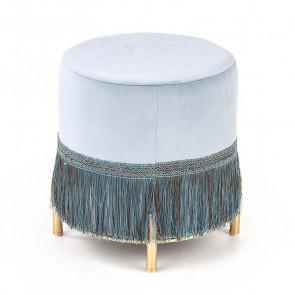 Pouf Melur blu in velluto con frange