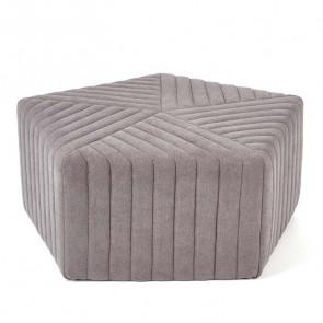 Pouf imbottito Penta grande grigio in tessuto moderno
