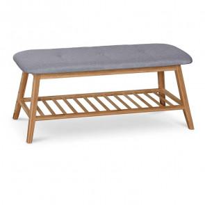 Panca Keduk portascarpe tessuto grigio legno bambù