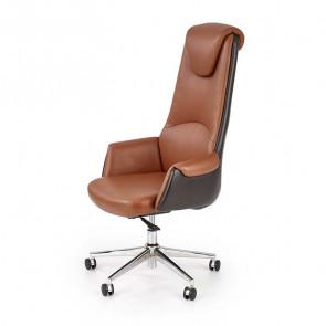 Poltrona ufficio Awok ecopelle marrone design moderno