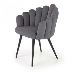 Sedia imbottita Alessia in velluto grigio design