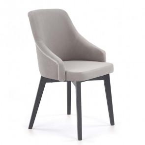 Sedia imbottita Belen in velluto grigio
