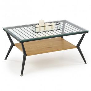 Tavolino rettangolare Ribe vetro trasparente rovere miele acciaio nero design