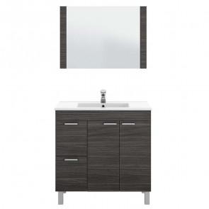 Mobile bagno 2 ante 2 cassetti Avenida con specchio grigio cenere