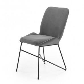 Sedia imbottita Zac in velluto grigio acciaio nero