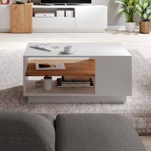 Tavolino soggiorno James bianco opaco quercia