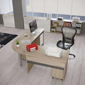 Arredo ufficio completo Time 4 rovere bianco lucido antracite lucido