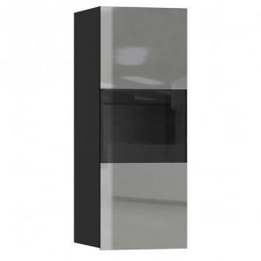 Pensile Leila 1 anta con vetro nero opaco grigio vetro