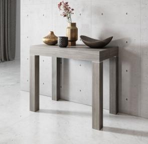Tavolo consolle allungabile moderno Pandora 110 rovere grigio poro aperto Gihome ®